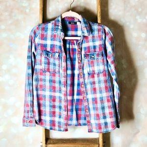 BDG Blue & Red Plaid Button Up Shirt